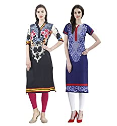 Vaamsi Women's PolyCotton Unstitched 2 Kurti Fabric(CKF1032_Multi-Coloured_Free Size)