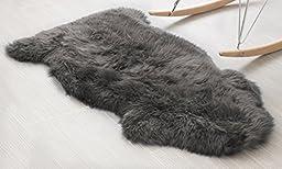 Genuine Australian Sheepskin Rug One Pelt Gray Natural Fur, Single, Approx. 2ft. x 3ft.