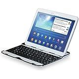 Sharon - Étui/boîtier en aluminium Samsung Galaxy Tab 3 10.1 GT-P5200 GT-P5210 GT-P5220 avec un clavier Bluetooth intégré en (AZERTY - mise en page en français)