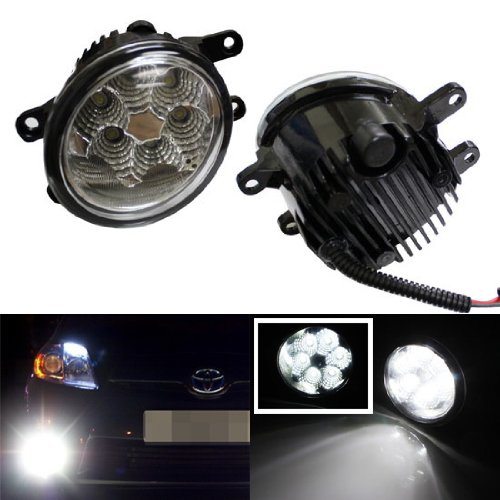 Ijdmtoy 6000K Xenon White 18W High Power Led Fog Lights Foglights Assembly For Lexus Is Gs Lx Hs Rx Toyota Rav4 Camry Solara Avalon Matrix Prius Scion Xa, Etc
