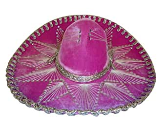 Pink Silver Mexican Charro Mariachi Hat Sombrero - Teen Size