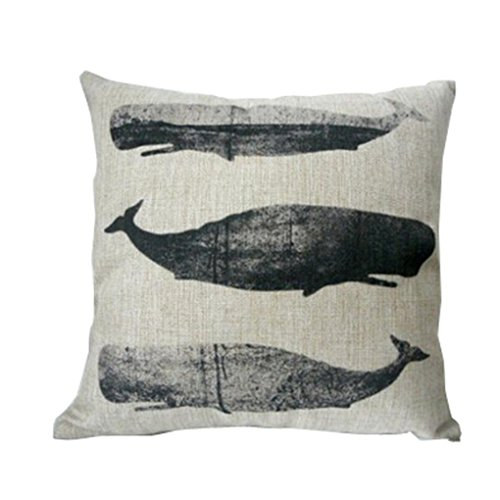 Hatop Sea Animal Pillow Case Sofa Waist Throw Cushion Cover Home Decor (I)