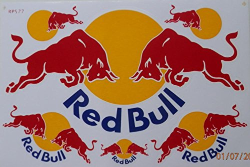 Red Bull Energy Drinks Sponsor F1 Motocross Racing Car Drift Decal Sticker Sheet (Red Drift Helmet compare prices)