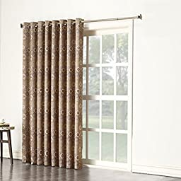 Sun Zero Celestia Extra Wide Blackout Energy Efficient Grommet Patio Door Curtain Panel, 100 x 84 inch, Taupe