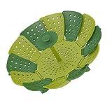 折りたたみ式蒸し器 グリーン 折りたたみ式蒸し器 セイロ シリコン蒸し器 耐熱 フリーサイズ コンパクト収納 万能蒸し器