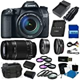 Canon EOS 70D 20.2 MP Digital SLR Camera with Dual Pixel CMOS AF and EF-S 18-135mm F3.5-5.6 IS STM Kit Bundle with Canon EF-S 55-250mm f/4.0-5.6 IS II Telephoto Zoom Lens, 64GB High Speed Card, 2 Batteries, 2 Chargers, Filters, Macro Kit + MORE!
