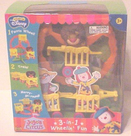 Playhouse jojo s circus fun ferris wheel set 3 in 1 wheelin fun ferris