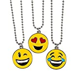 3 Pack of Emoji NECKLACE - Assorted Smiley Emoticon 16 inch Necklaces