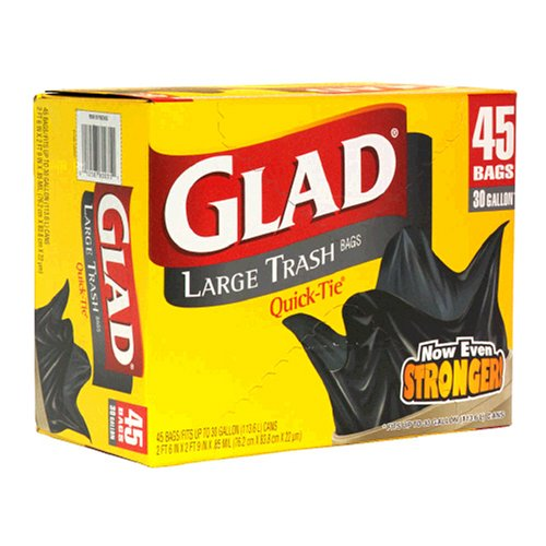 Glad Quick Tie Large Trash Bags, 30 Gallon, 40-Count Bags, (Pack of 4)
