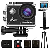 LeadEdge Action Camera 4K WiFi Ultra HD Sports Video Cam Waterproof DV Underwater Camcorder 4K/30FPS 1080P/60FPS 30M Diving 170° Wide Angle Remote Control /Monopod/Tripod/Carrying Case/2 Battery