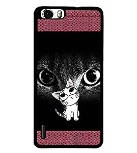 Fuson 2D Printed Cat Designer back case cover for Huawei Honor 6 Plus - D4130