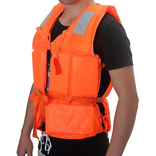 Adult-Aid-Kayak-Boating-Orange-Foam-Flotation-Swimming-Safety-Life-Jacket-Vest