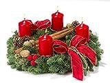 Lawn & Patio - Echter Adventskranz Glanzlichter, 30 cm im Durchmesser, aus echtem nobilisgr�n, mit roten Kerzen
