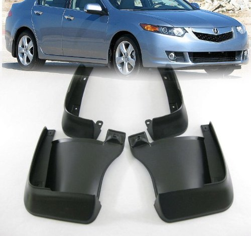 Black Auto parts 4PCS Mudguard Splash Guard Mud Flap Fit For 2009 2010 2011 2012 2013 ACURA TSX 4DR (Acura Tsx Tires compare prices)
