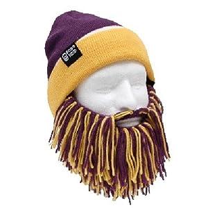 NFL Minnesota Vikings Beanie with Barbarian Beard, Purple Yellow by Beard Head