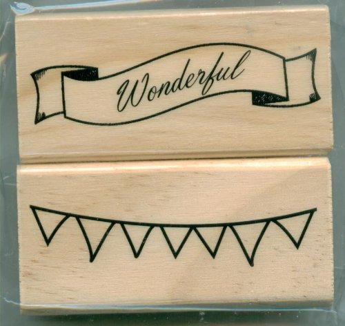 2 Banner Designs- Wood Block Rubber Stamps From Michaels