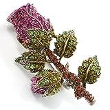Exquisite Swarovski Crystal Rose Brooch