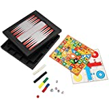 [5 In 1 ] [2~4 Player] Abs Plastic Magnetic Game Travel Backgammon Board Set/Chinese Checkers/Ludo Game/Nine Mens...