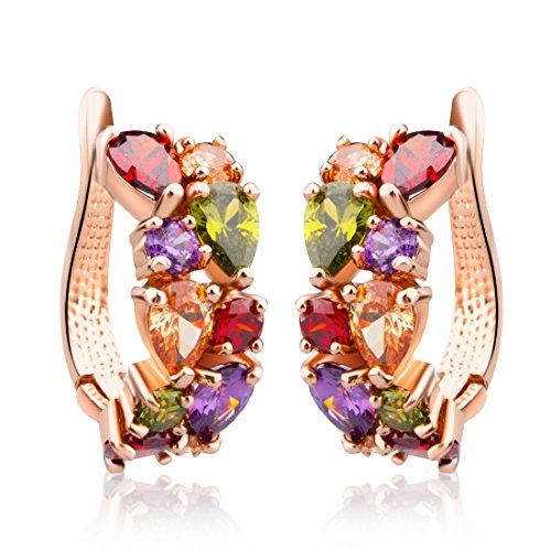 Bamoer 2014 Multiple Style Colorful Gold Plated Stud Earrings For Women Cubic Zircon Cz Wedding Jewelry (Yljie020)