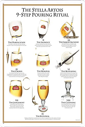 tin-sign-metal-poster-plate-8x12-of-stella-artois-beer-9-step-pouring-ritual-water-plane-by-food-bev