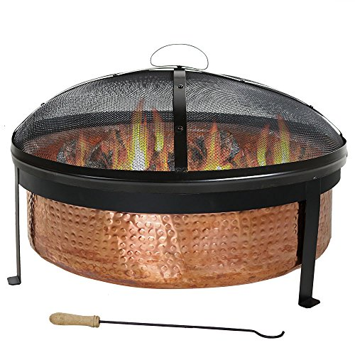 Sunnydaze-Hammered-100-Copper-Wood-Burning-Fire-Pit-with-Spark-Screen-30-Inch-Diameter