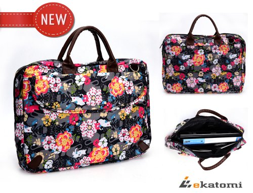 15-inch Laptop Bag Yield Sleeve Universal Case for 15 Sony VAIO VPC-EB46FX Notebook - Floral Put out. Bonus Ekatomi Screen Cleaner