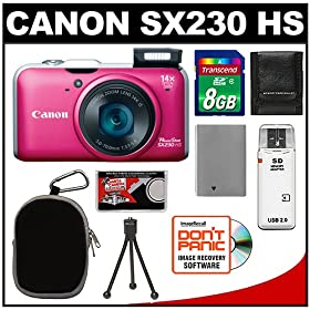 Canon PowerShot SX230 HS Digital Camera (Red) with 8GB Card + Battery + Case + Accessory Kit