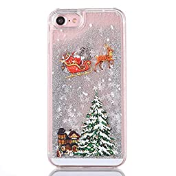 Urberry Iphone 7 Case,Running Glitter Cover, Christmas Gift Creative Design Flowing Liquid Floating Luxury Bling Glitter Sparkle Hard Case for 4.7 inch iPhone 7 with a Screen Protector (Silver1)