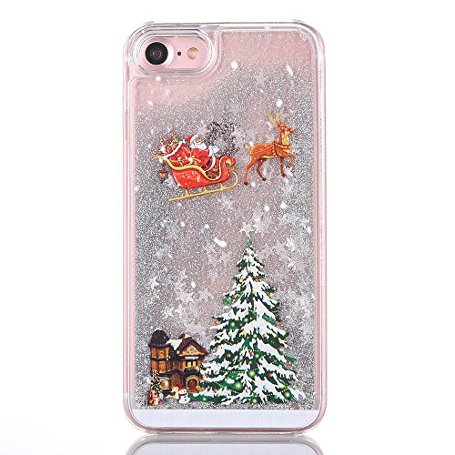 iPhone 6s case,iphone 6 case, liujie Liquid, Cool Quicksand Moving Stars Bling Glitter Floating Dynamic Flowing Case Liquid Cover for Iphone 6 4.7 inch(Christmas silver) (Cool Iphone 6 Cases For compare prices)