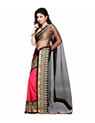 Temptingg Fashions Pink Chiffon & Net With Heavy Embroidery And Lace Border Work Saree