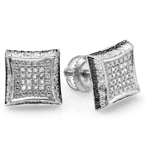 0.10 Carat (ctw) Sterling Silver White Round Diamond Micro Pave Setting Kite Shape Stud Earrings