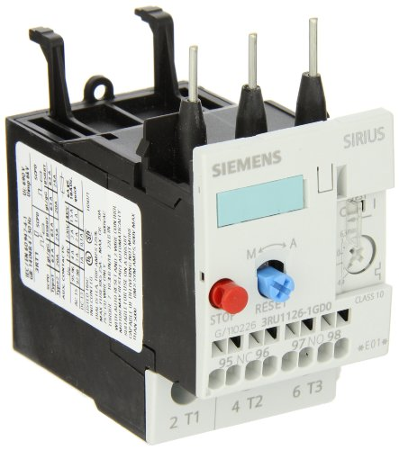 Siemens 3RU11 26-1GD0 Thermal Overload Relay, For Mounting Onto Contactor, Size S0, 4.5-6.3A Setting Range 2 pin thermal overload protection