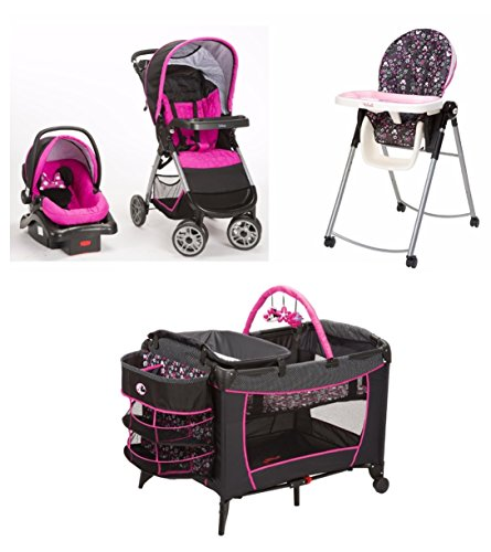 4-Piece-Minnie-Mouse-Pop-Newborn-Set-Stroller-Car-Seat-High-Chair-Play-Yard-Bundle-Baby-Gear-Girl-Infant-Disney
