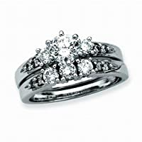 Sterling Silver 1 ct. Cubic Zirconia Engagement Set