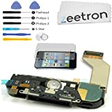 Zeetron iPhone 4S Charge Port Assembly White (Charge Port Speaker Microphone Wifi cable Home Button Flex Cable) + Tools + Screen Protector + Cloth (Do It Yourself Kit)