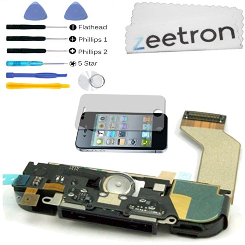 Iphone 4S Replacement Charing Port Dock Assembly Black (Includes Speaker, Microphone, Home Button Flex, Antenna, Charging Flex) + 6 Piece Tool Kit + Zeetron Microfiver Cloth