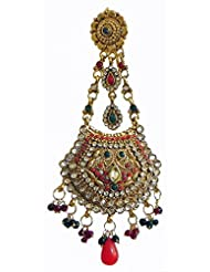 DollsofIndia Maroon, Green And White Stone Studded Oxidised Metal Polki Mang Tika - Stone, Bead And Metal - Red - B00XLE351I