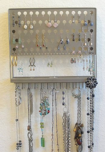 (AAC-Satin Nickel) Angelynn's Contemporary Styled Accessory Angel - Pierced Earring Holder & Jewelry Organizer - Hanging Necklace Storage Rack - Wall Mount Earring Tree Display Stand