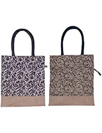 ABV Lunch Bag, Jute Bag, Carry Bag, Multi-purpose Bag-Pack Of 2 Jute Bag (Black Printed Color)