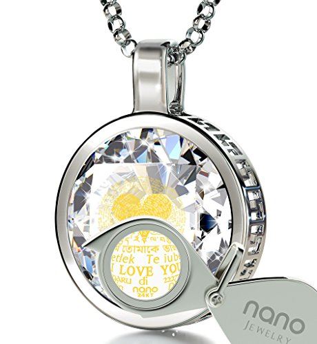 925 Sterling Silver I Love You Necklace Inscribed in 120 Languages in 24k Gold on White Cubic Zirconia Pendant, 18