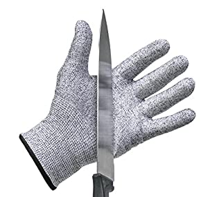 Stark Safe Cut Resistant Gloves (1 Pair) - Highly Rated CE Level 5 Cut Protection - One Pair - Professional Grade Kitchen Cut Resistant Gloves, Perfect for Food Service Professionals and Home Chefs - Great for Lab Safety, Metal Work - Fit Men, Women, & Ki