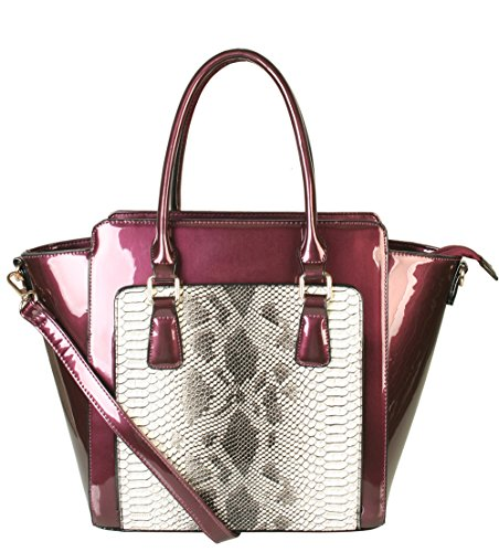 rimen-co-womens-fashion-snake-print-pu-leather-with-two-handles-adjustable-strap-zipper-off-tote-bag