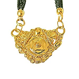 Surat Diamonds Gold Plated Mangalsutra Pendant with Black Kedia Beads Chain 30 IN for Women  MNG12  available at Amazon for Rs.99