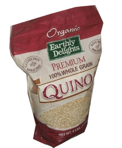 Earthly Delights Organic Premium 100 Percent Quinoa Whole Grain 4 Pound Resea