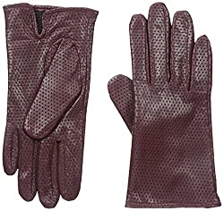 Gloves International Women's Perforated Leather Gloves, Wine, Medium