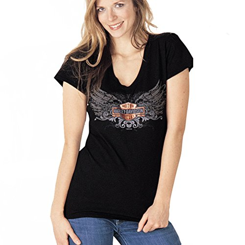 Harley-Davidson Womens Fly Away Black Short Sleeve V-Neck - LG
