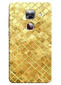Omnam Golden Square Printed With Effect Designer Back Cover Case For LeTv Le2
