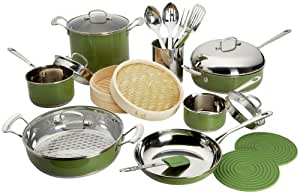 Roy Yamaguchi 22 Piece Cookware Set, Green