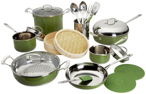 Roy Yamaguchi 22 Piece Cookware Set, Green - Buy Roy Yamaguchi 22 Piece Cookware Set, Green - Purchase Roy Yamaguchi 22 Piece Cookware Set, Green (Roy Yamaguchi, Home & Garden, Categories, Kitchen & Dining, Cookware & Baking, Cookware Sets, Stainless Steel)