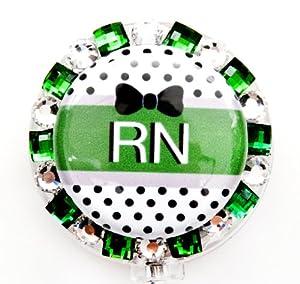 BLACK BOW RN BLING BADGE REEL, RHINESTONE BADGE REEL, RHINESTONE RETRACTABLE BADGE REEL, BLING ID BADGE HOLDER FOR NURSES, GIFT, GRADUATION, BIRTHDAY, OR CHRISTMAS. (BLACK BOW GREEN)